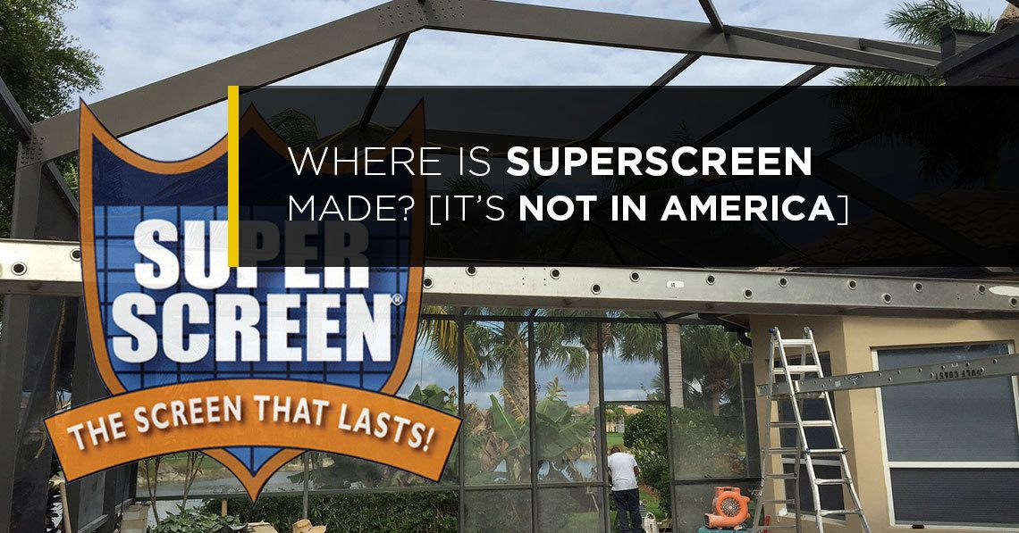 SuperScreen has become a popular product over the years known for its longevity and durability on screen enclosures ( just Google Superscreen Reviews ) . Whereas some screen meshes used in Florida only have a lifespan of a mere 3-5 years, SuperScreen had a manufacturer's material warranty of 10 years. Indeed it was (and is) a superior product to standard fiberglass screens. The basis for such, is that it is made from a high quality polyester fabric, which is naturally stronger than fiberglass, and doesn't deteriorate as rapidly. Superscreen was once made by Twitchell here in the United States. The keyword there is 'once'. This was a popular selling point as naturally we want to contribute to our american economy. These days, Superscreen is no longer made in the USA. Nope not any more. Many homeowners, still think Superscreen is made in the USA. Many contractors still pitch it as 'Made In America', but that is no longer true. I've been unable to get exact details on where it is made now, but this insect mesh is likely made in China, Sri Lanka, or Mexico (or a combination of the 3) where fabric manufacturers are prevalent. What does this mean for you and your pool cage or screen enclosure? Great question. First of all, the material base and manufacturing process probably hasn't changed. The same process could be applied anywhere in the world. The warranty still remains the same, so Superscreen is still a sound product From a consumer perspective, you know longer have the value of contributing to the United States, and the brand name isn't worth paying for. There are a couple other competitors to Superscreen out there that offer a similar polyester product (ie. it is probably coming out of the same factory), and warranty without the brand name premium. My suggestion would be to go with a polyester mesh that your contractor will offer to you at the best price.
